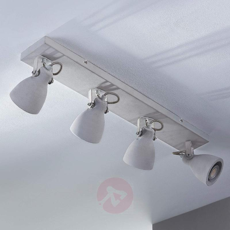 4-bulb LED concrete ceiling lamp Kadiga - Ceiling Lights