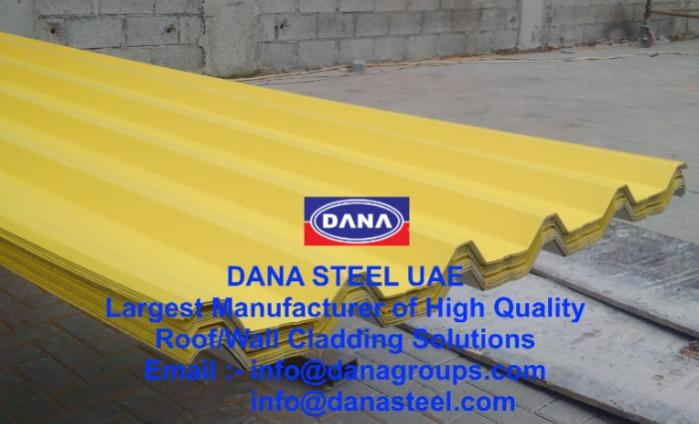 Corrugated GI PPGI Roofing Profile Sheets  - DANA STEEL UAE manufactures Corrugated Profile Sheets for Roofing / Cladding