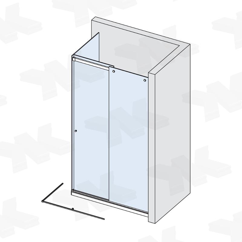 Corner shower with two fixed parts, track length 3000 mm - Fittings for sliding doors