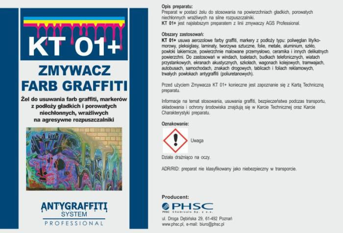 KT 01+ - Zmywacz farb graffiti -