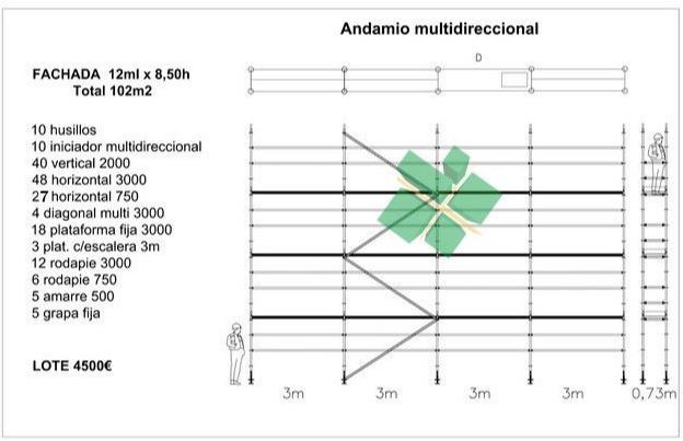 andamio multidireccional - Andamio homologado y certificado europeo 102m2