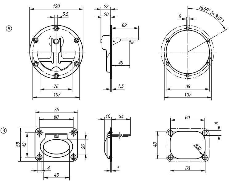 Poignée alcôve escamotable inox - Poignées de manutention, poignées tubulaires et poignées alcôve