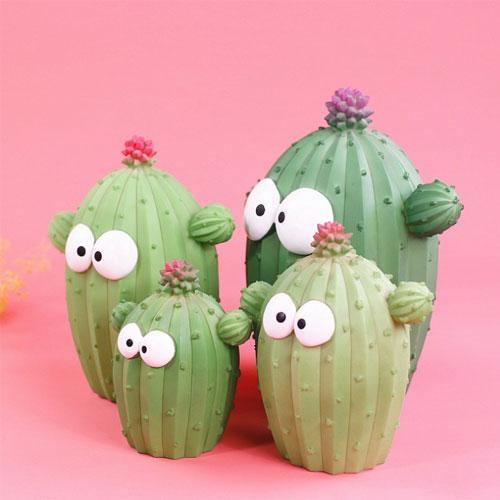 Custom resin big eyes cartoon cactus kids coin bank - Home Accent