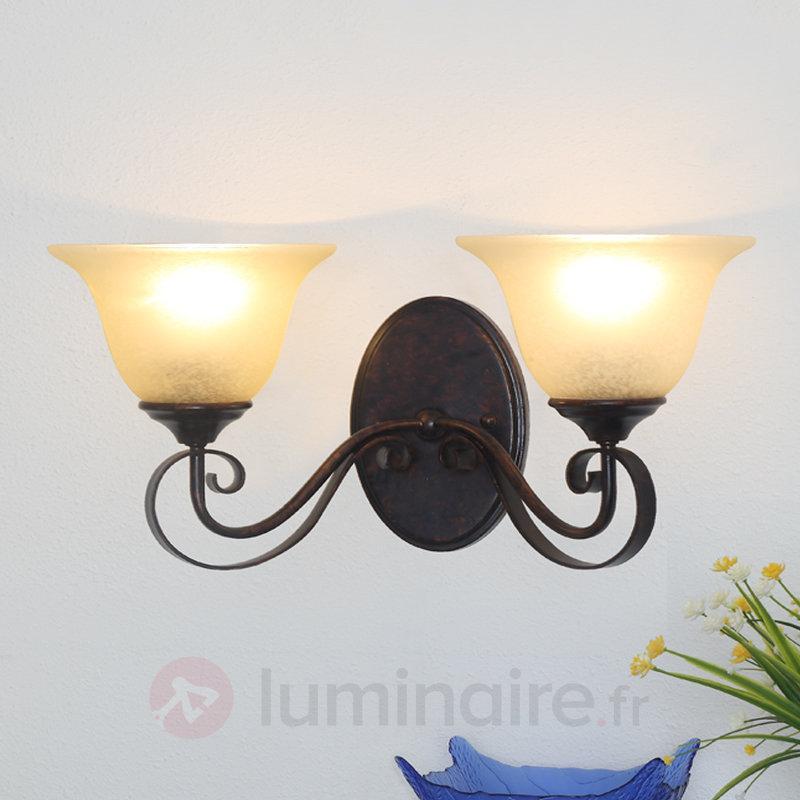 Applique Svera style champêtre à deux lampes - Appliques rustiques