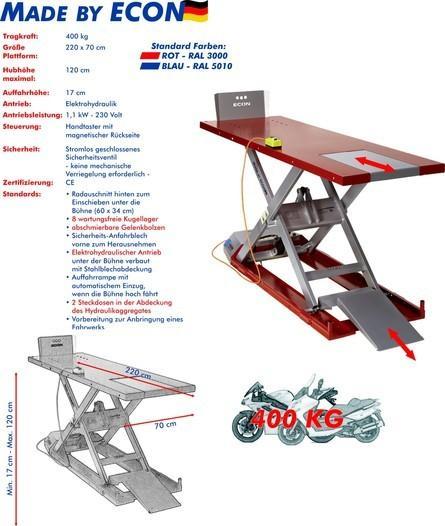 Motorradhebebühne ECON EH 400 Sport Rot/ Blau für Zweiräder, Motorräder - null