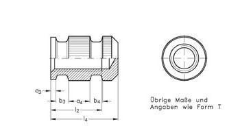 Gewindebuchsen - geschlossen, schwere Bauart, für Kunststoff-Formteile und Dr