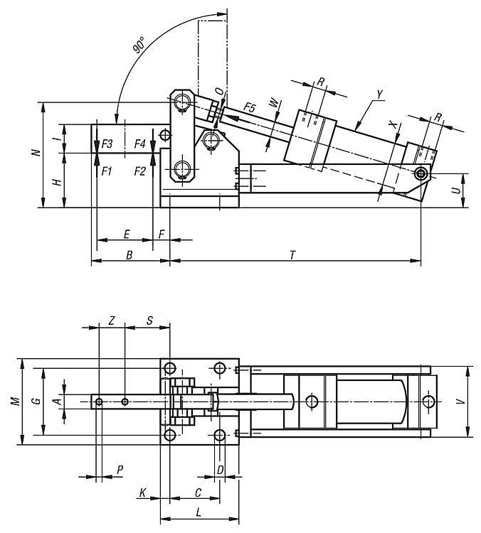 Sauterelle pneumatique verticale modèle lourd - Sauterelles pneumatiques