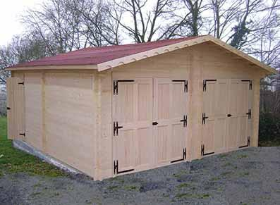 Garage double en bois - Madrier