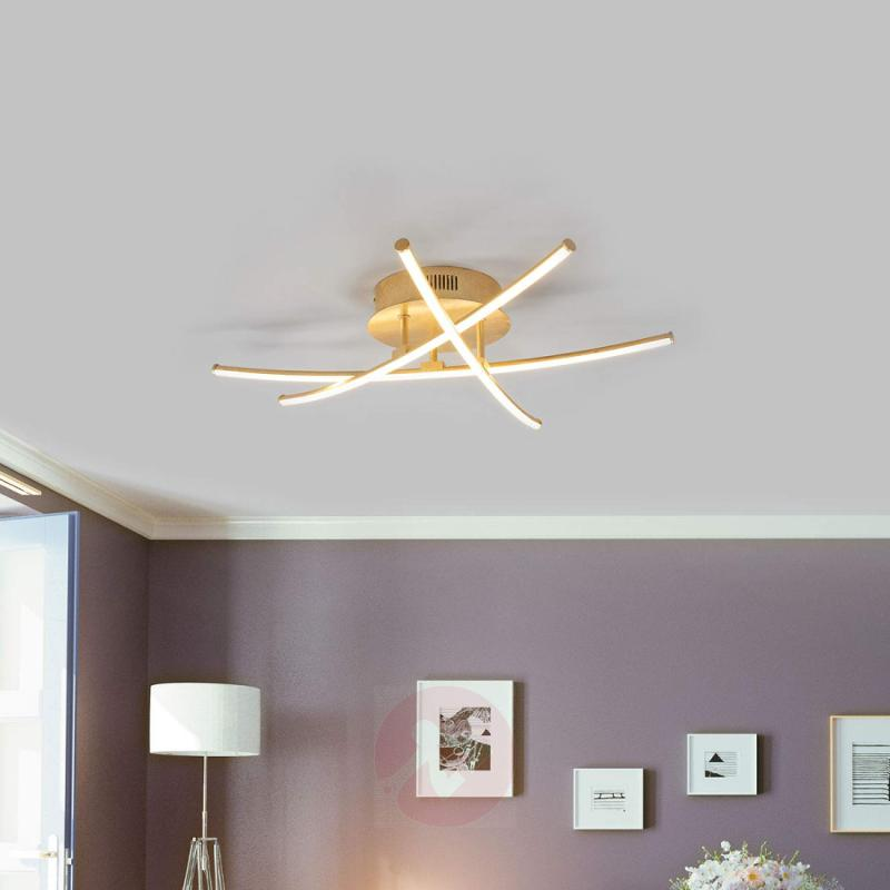 Puristic LED ceiling lamp Yael in gold, 3-bulb - indoor-lighting