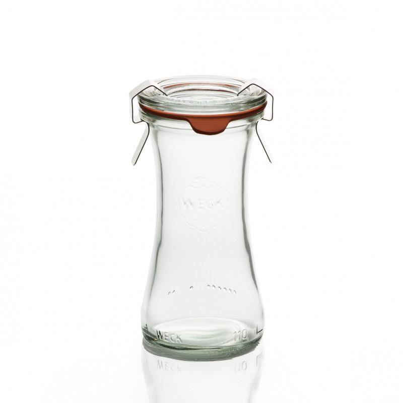 Nouveauté : 6 Bocaux en verre WECK Bobine 110 ml - avec couvercle en verre et joint diamètre 40 mm