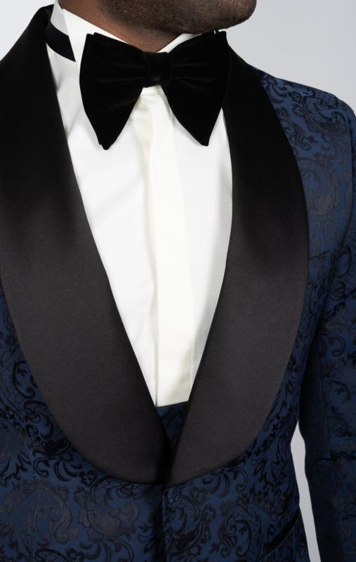 Smoking bleu marine à large revers avec motifs cachemire - Costumes de cérémonie