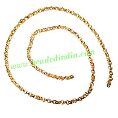 Gold Plated Metal Chain, size: 0.5x2.5mm, approx 73.9 meters - Gold Plated Metal Chain, size: 0.5x2.5mm, approx 73.9 meters in a Kg.