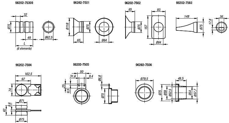 Suction hoses LOC-LINE® Flexi 75 - Feeler gauge strips - Magnetic labels - Envelopes Protective nets