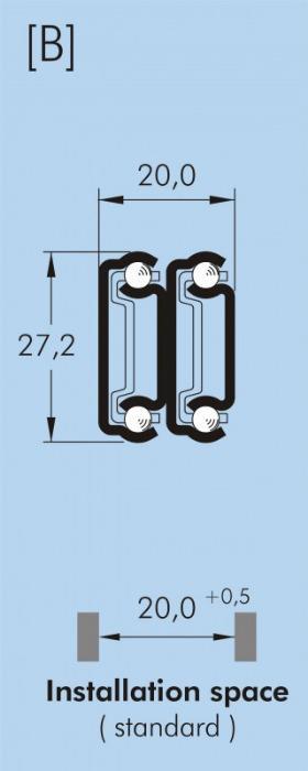 ITS 040 Full extension drawer slide 30 kg - 27,2 x 20 mm telescopic slide hot-dip galvanized steel length 150 - 500 mm