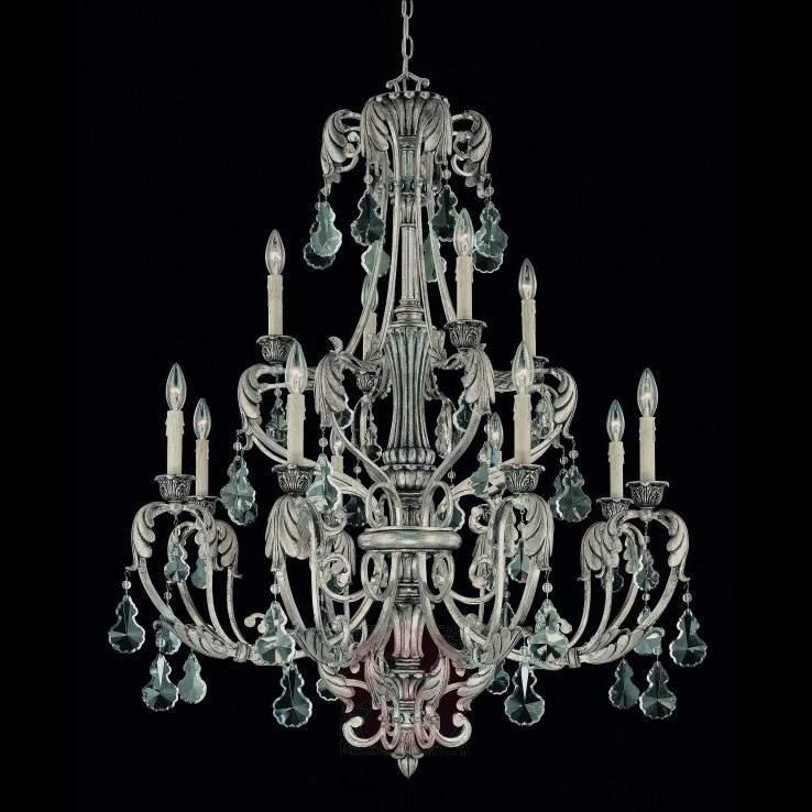12-light silver chandelier FLORITA - Chandeliers