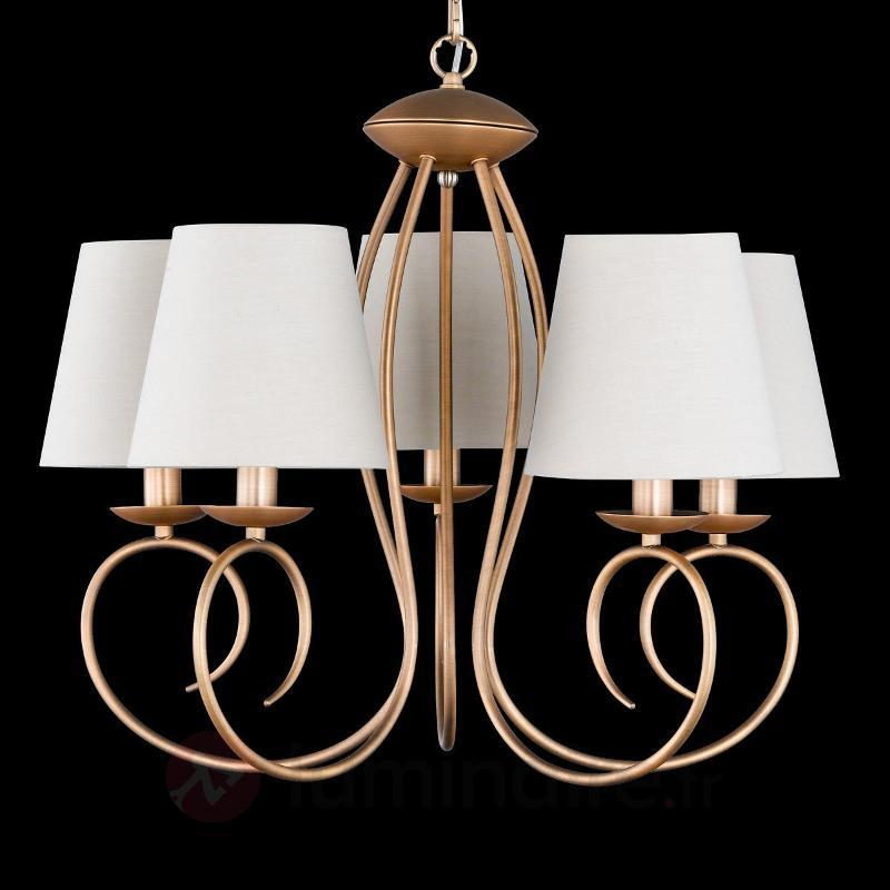 Lustre à cinq lampes Twist bronze - Lustres à abat-jour