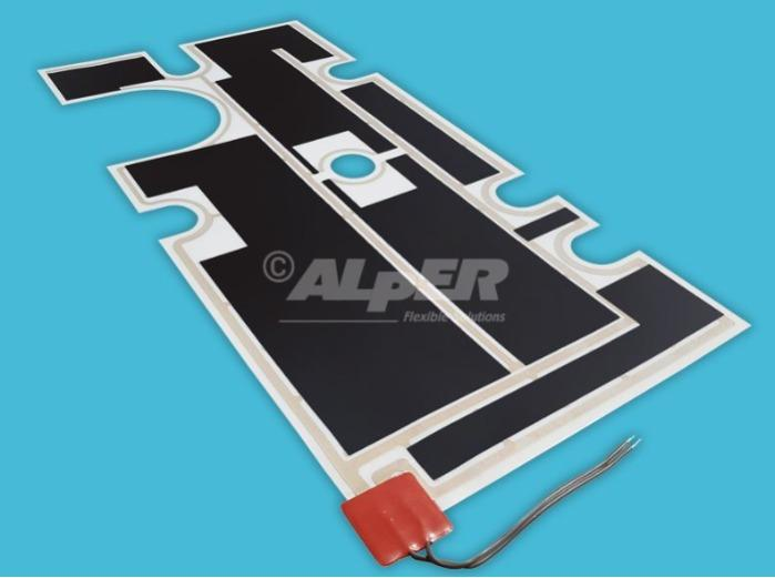 Riscaldatore flessibile in poliestere - Adesivo o non adesivo per tensioni da 1 a 400V per temperature fini a 100°C