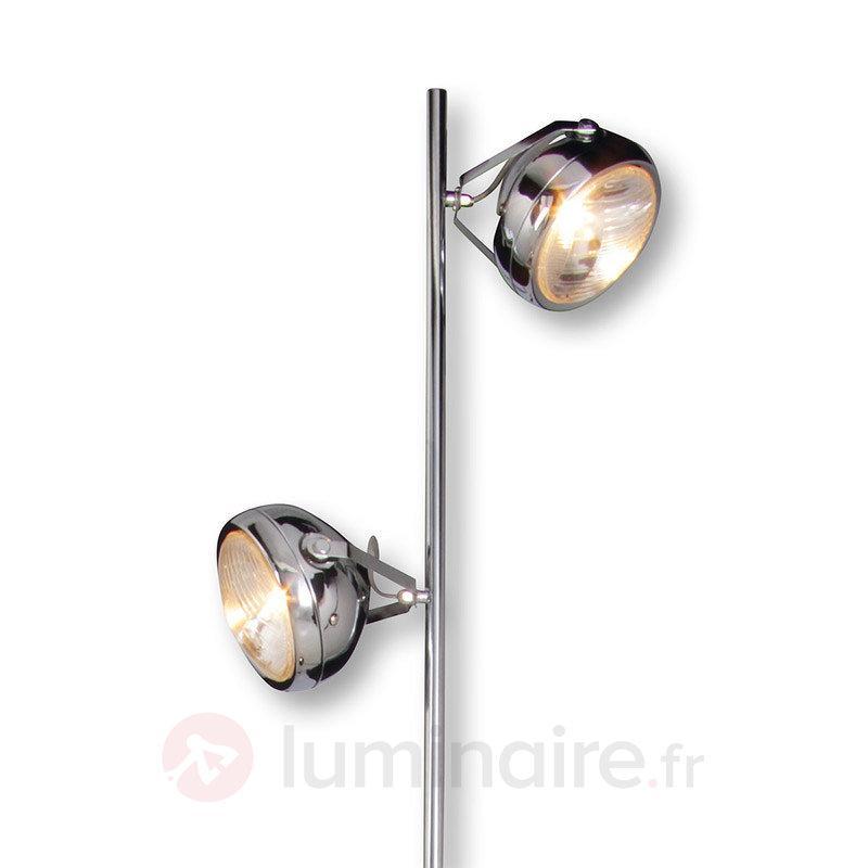 Lampadaire Alice à l'aspect chromé et à 2 lampes - Tous les lampadaires