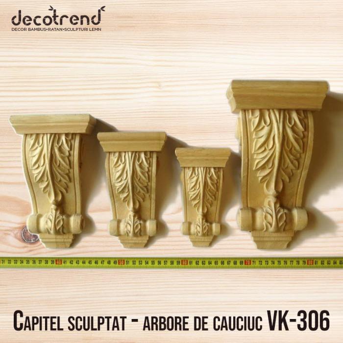 Capitel sculptat – arbore de cauciuc VK-306 - Capitel din lemn de arbore de cauciuc disponibil cu diferite dimensiuni