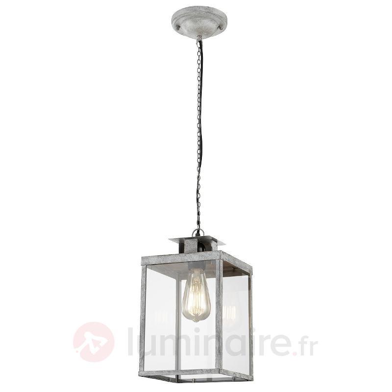 Suspension grise Elsa en forme de lanterne - Suspensions rustiques