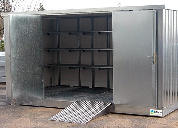 Bungalow de stockage 4 m x 2 m - Bungalow isolé -... - BUNG4MIPF Bungalows de stockage avec rétention