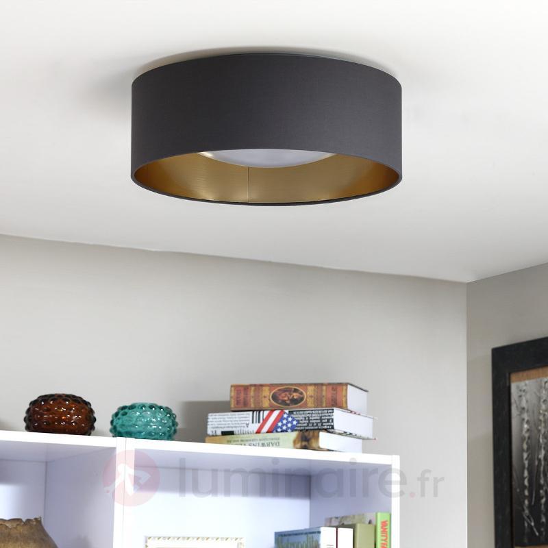 Plafonnier LED gris Coleen doré à l'intérieur - Plafonniers en tissu