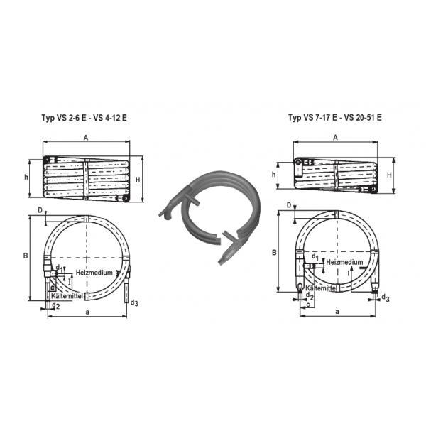 Koaxial-Verdampfer Schmöle. VS 2-6 E, 7,8 kW, 1,2 m3/h - Kälte Verdampfer & Verflüssiger