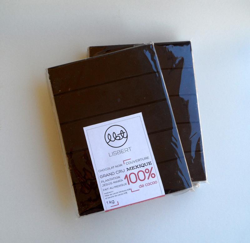 Couverture Chocolat Noir 100 % cacao pure origine Mexique - Épicerie sucrée