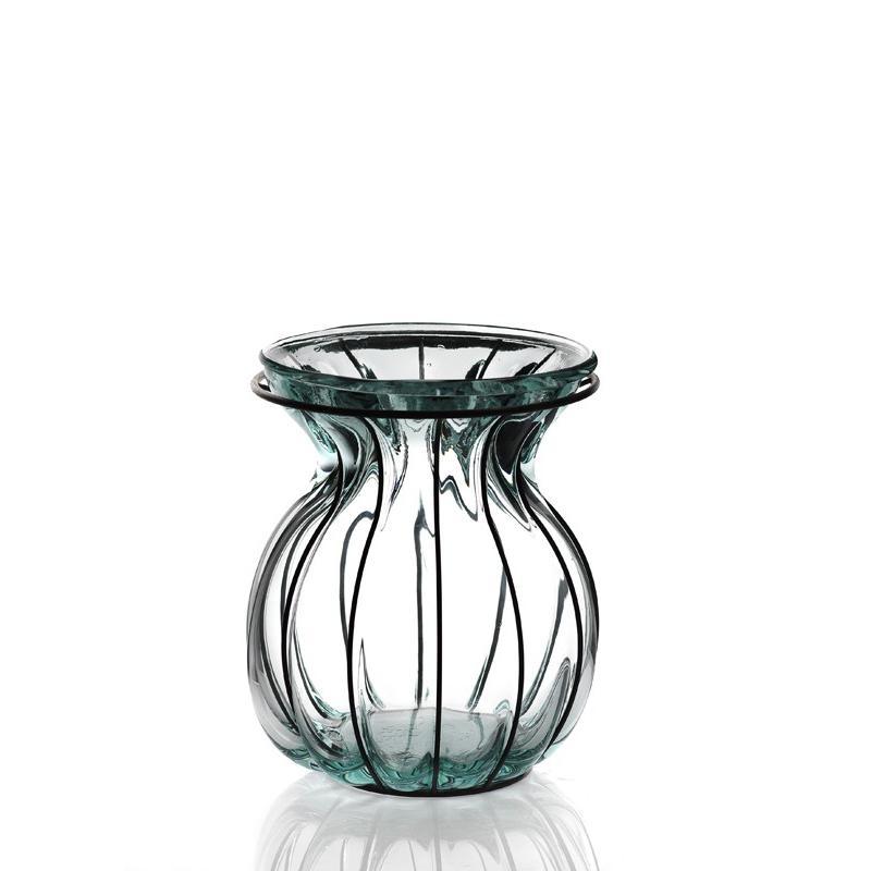 Lanterne ou vase FLORERO OVALADO, en verre et en fer 26 cm