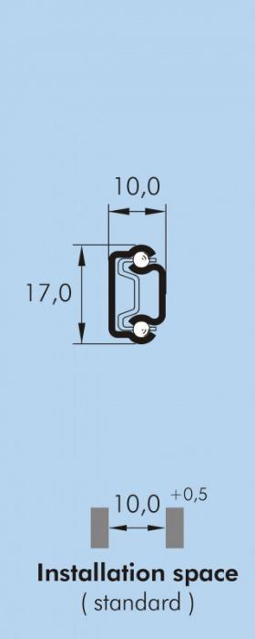 ITS 017 Partial extension drawer slide 15 kg - 17 x 10 mm telescopic slide hot-dip galvanized steel length 150 - 400 mm