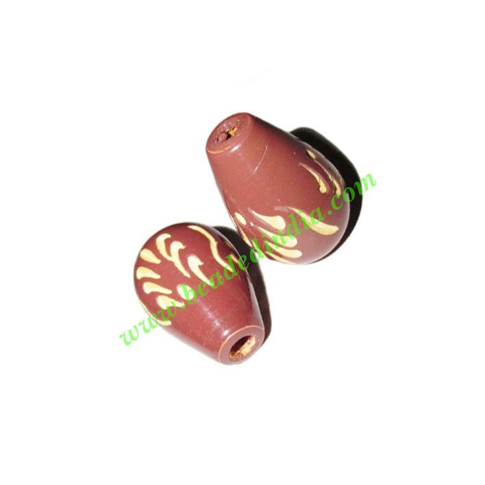 Wooden Carved Beads, size 15x24mm, weight approx 2.03 grams - Wooden Carved Beads, size 15x24mm, weight approx 2.03 grams