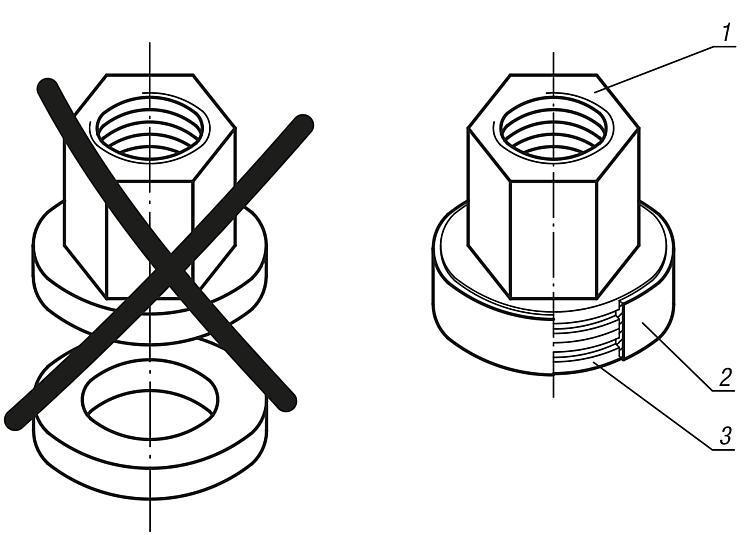 Ecrou à rondelle imperdable - Éléments de liaison