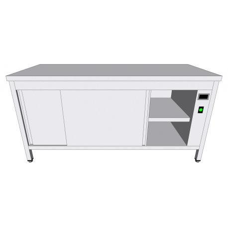 Table-armoire centrale chauffante en inox - Tables-armoires inox chauffantes