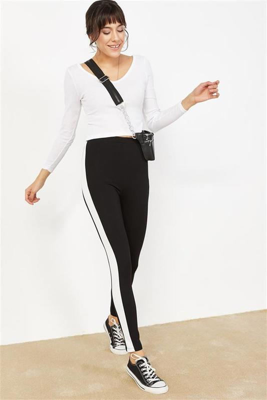 Women's Track Advanced Contrast Side White Tights - Tights