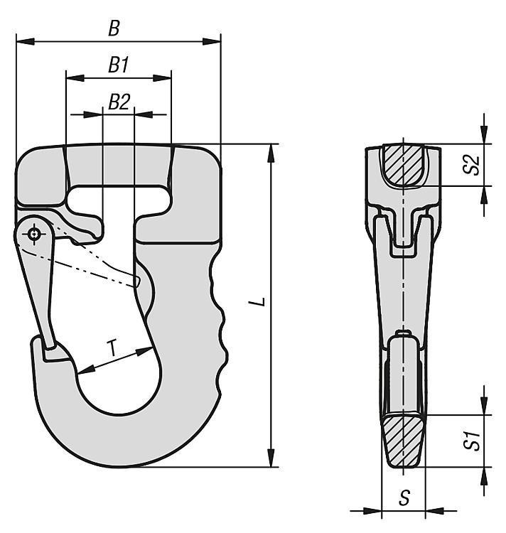 Crochet à élingue classe 8 - Anneaux de levage fixes et pivotants, anneaux à broche autobloquante