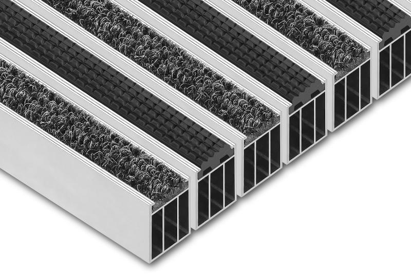 Wycieraczka obiektowa - Wycieraczki aluminiowe wewnętrzne Osuszająco-czyszczące