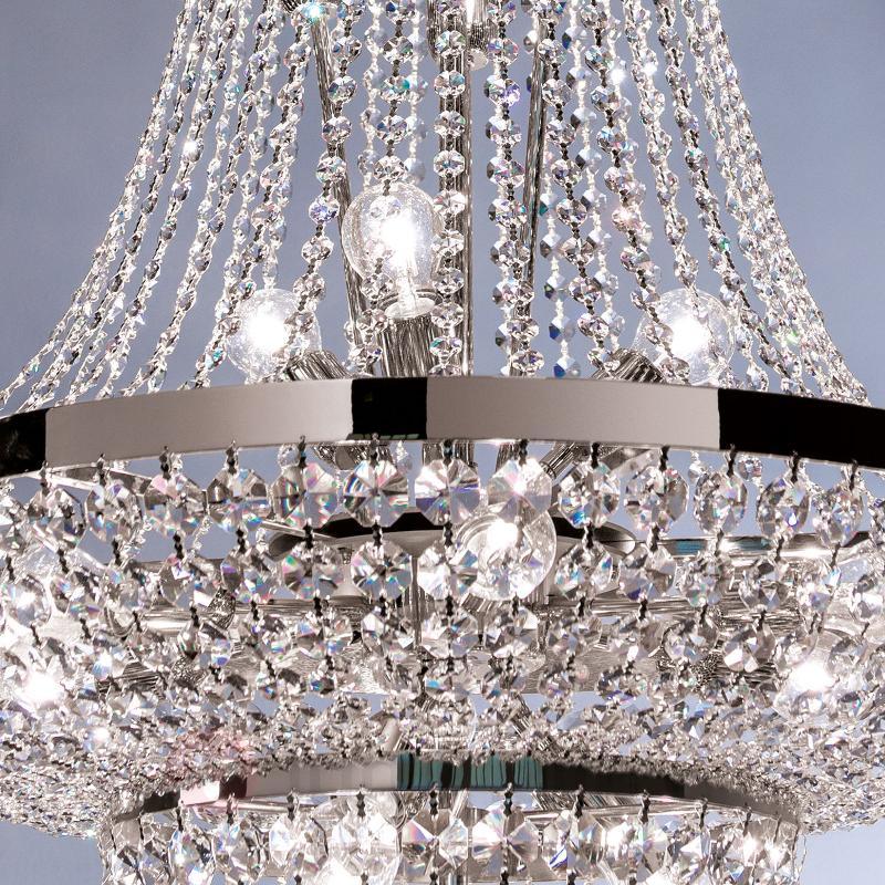 Lustre cristal Sheraton chromé - Lustres en cristal