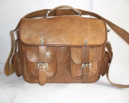 Leather Messenger Bag - Leather Messenger Bag with 2 Pockets