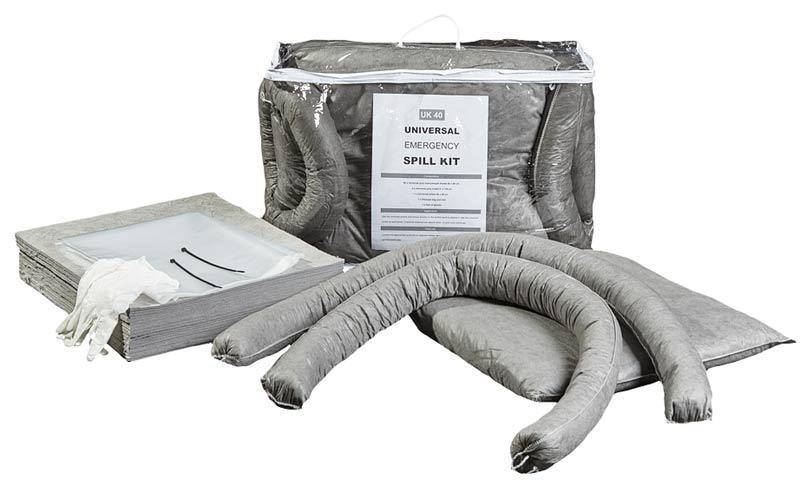 KIT D'INTERVENTION ABSORBANTS TOUS LIQUIDES - Format sac zippé, 3 volumes disponibles : 25 L, 40 L et 60 L