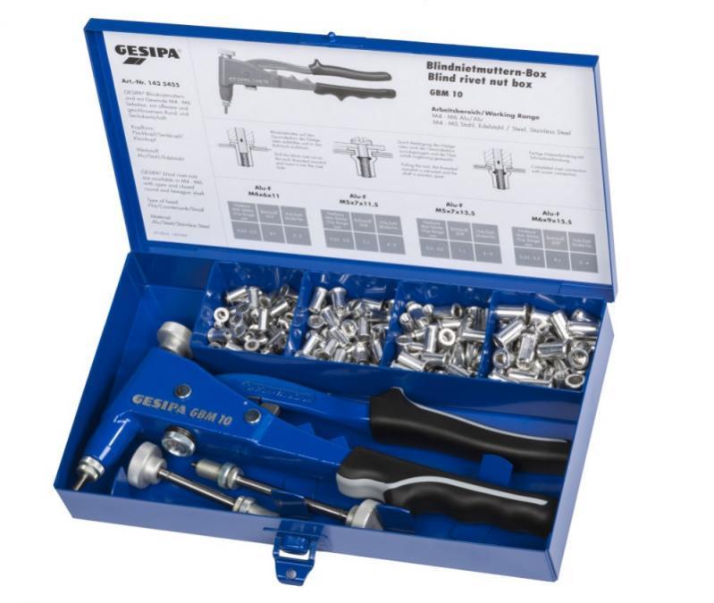 Blindnietmuttern-Box (Hand-Blindnietmuttern-Setzgeräte) - GBM 10 mit Gewindedorn und Mundstück M5