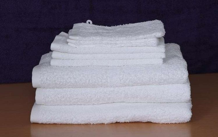 Institutional Towel - 100% cotton white terry towel with or without fancy/greek border