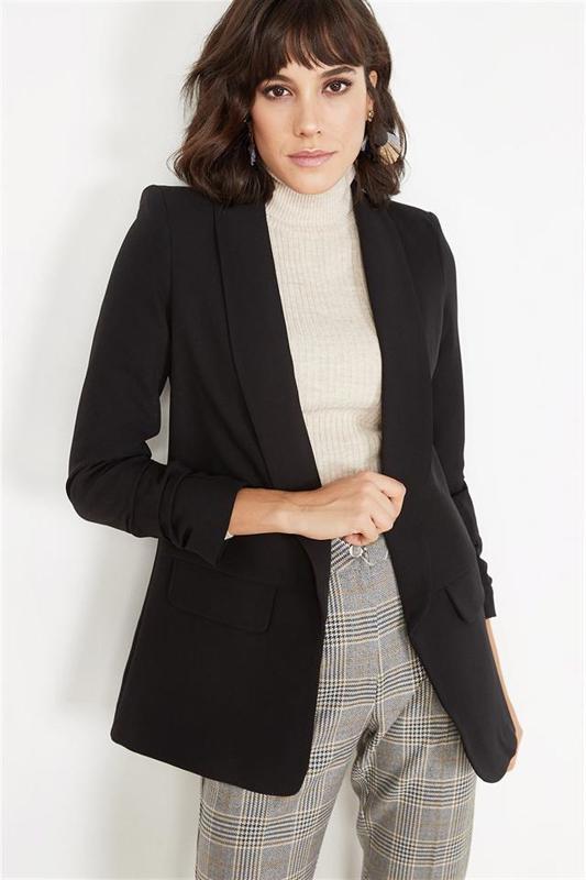 Women's Black Drawstring Jacket Sleeve - Women's Jacket