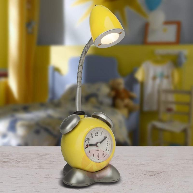 LED table lamp Pharrell, integrated alarm clock - Bedside Lamps