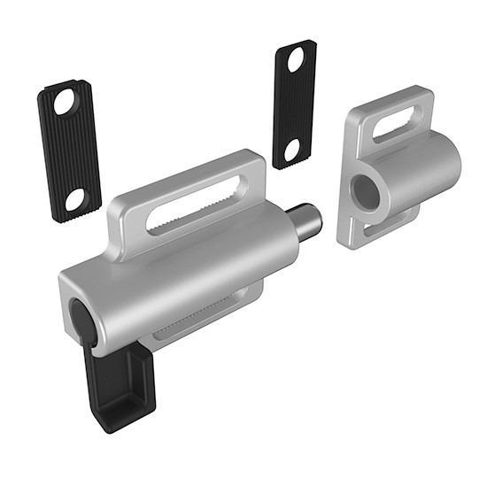 Door lock, bolt, latch, stop, catch - for closing and locking of aluminium profile, various versions