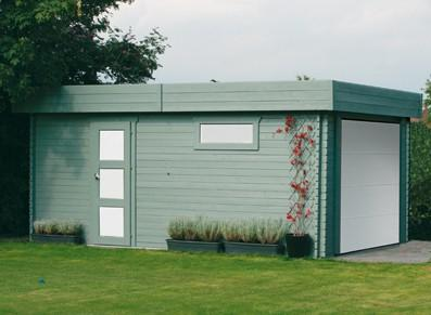 Garage bois - Madriers avec porte motorisée
