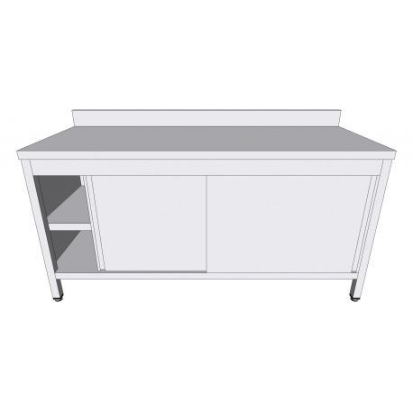 Table-armoire adossée à portes coulissantes en inox - Tables-armoires inox avec portes coulissantes