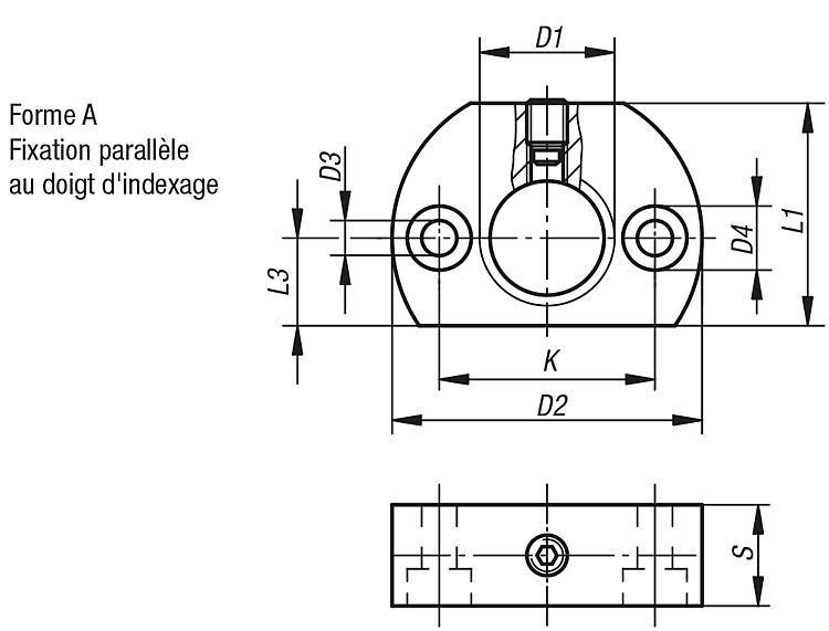 Support de doigt d'indexage verrouillable - Doigt d'indexage à corps lisse