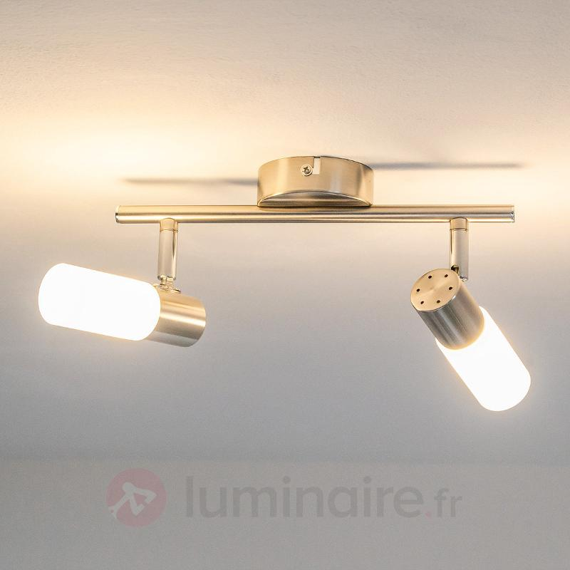 Tamia - Plafonnier LED à 2 lampes, nickel mat - Plafonniers LED