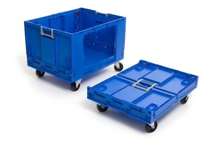 Caixas de plástico rebatíveis -  com abertura lateral, 183L