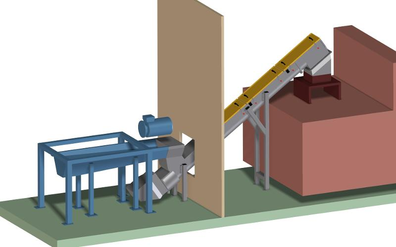Custom spiral conveyors for recycling materials - SG system for PET bottle recycling with discharge for fluids